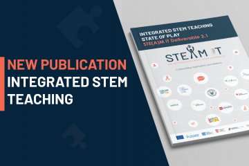"Visual announcing a new publication on the STE(A)M IT portal. The visual says ""new publication: integrated STEM teaching' and displays on the right a preview of the publication cover"
