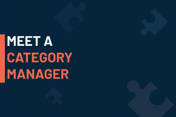 A dark blue visual with a text in white and orange saying 'meet a category manager'