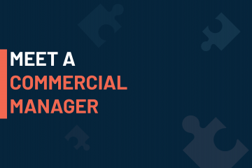 A dark blue visual with a text in white and orange saying 'meet a commercial manager'