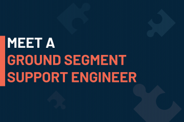 A dark blue visual with a text in white and orange saying 'meet a ground segment support engineer'