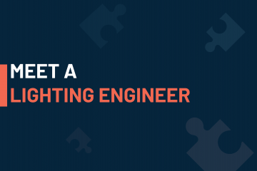 A dark blue visual with a text in white and orange saying 'meet a lightingt engineer'