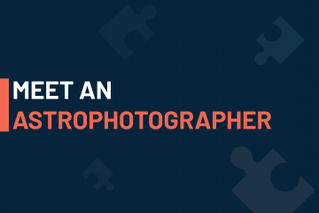 A dark blue visual with a text in white and orange saying 'meet an astrophotographer'