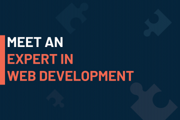 A dark blue visual with a text in white and orange saying 'meet an expert in web development'