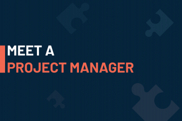 A dark blue visual with a text in white and orange saying 'meet a project manager'