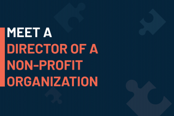A dark blue visual with a text in white and orange saying 'meet a director of a non-profit organization'
