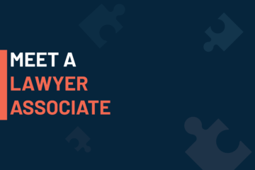 """""""A dark blue visual with a text in white and orange saying 'meet a Lawyer Associate'"""""""