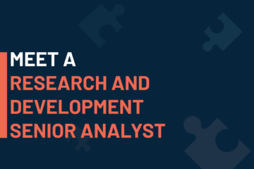 """""""A dark blue visual with a text in white and orange saying 'meet a research and development senior analyst""""."""