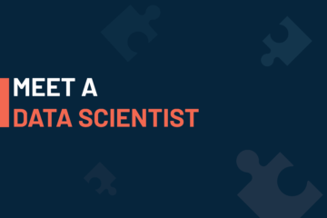 """""""A dark blue visual with a text in white and orange saying 'meet a data scientist'""""."""